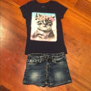 Other - Girls size 7 T-shirt & Jean shorts